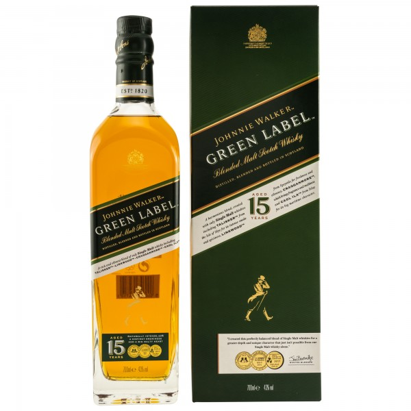 Johnnie Walker 15 Years Green Label Blended Malt Scotch Whisky 43% 0,7 L
