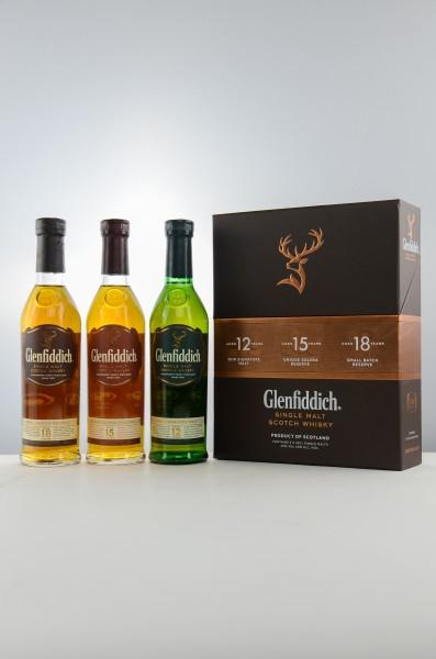 Glenfiddich Collection Mix Pack 12, 15, 18 Jahre 40% 0,6 L